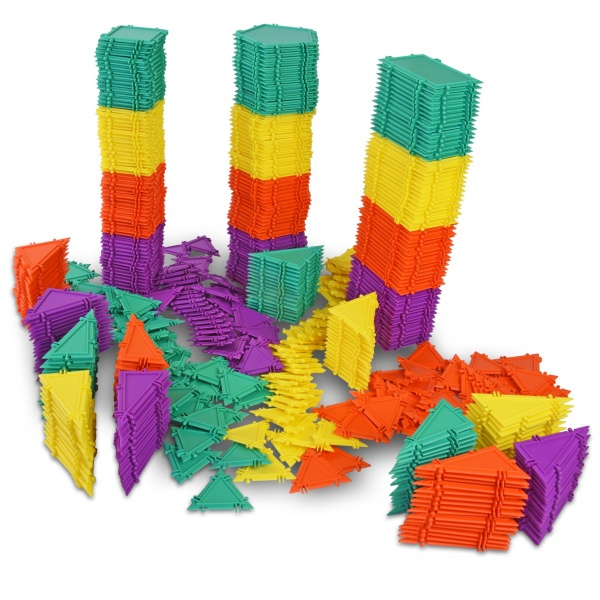 stacks of geometiles on display