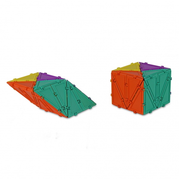 cube and rhombus built with geometiles
